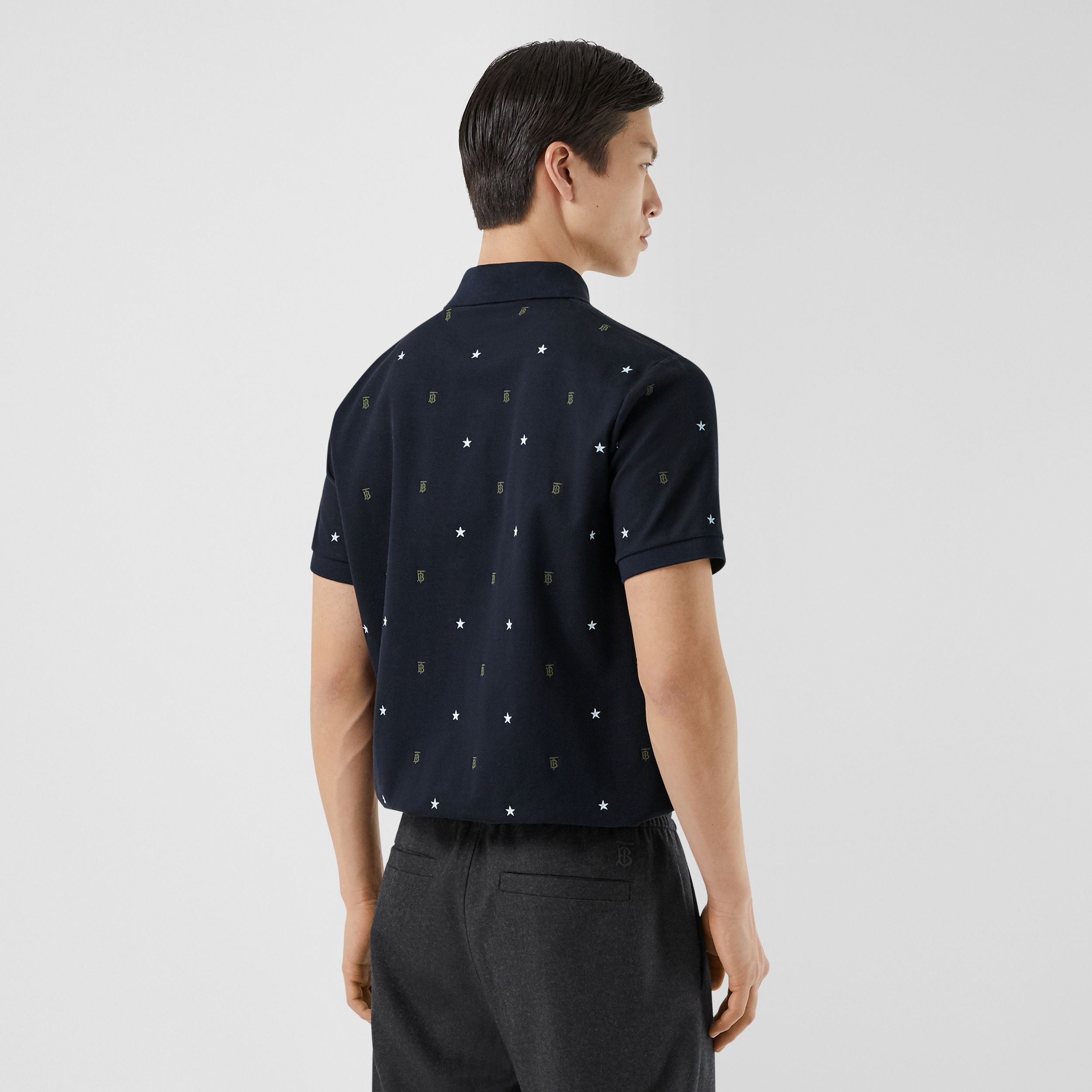 Star and Monogram Motif Cotton Piqué Polo Shirt in Navy - Men | Burberry - 3