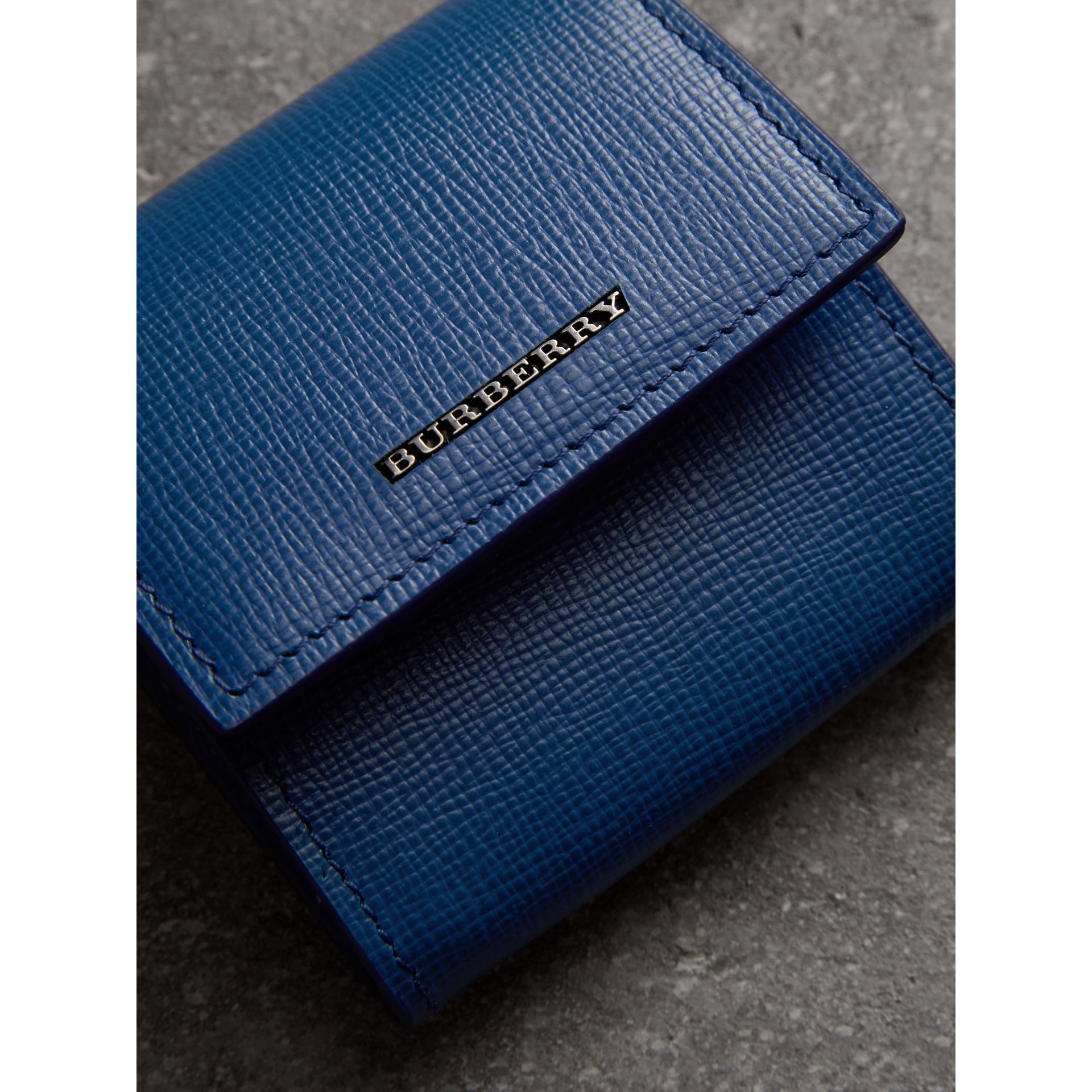London Leather Coin Case in Deep Blue - Men | Burberry Australia - gallery image 1