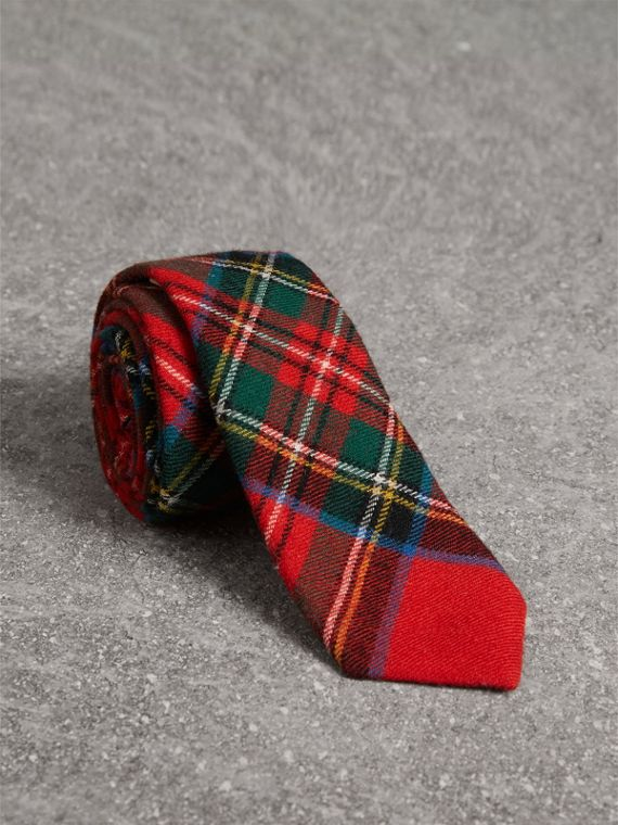 Slim Cut Tartan Wool Flannel Tie in Bright Red