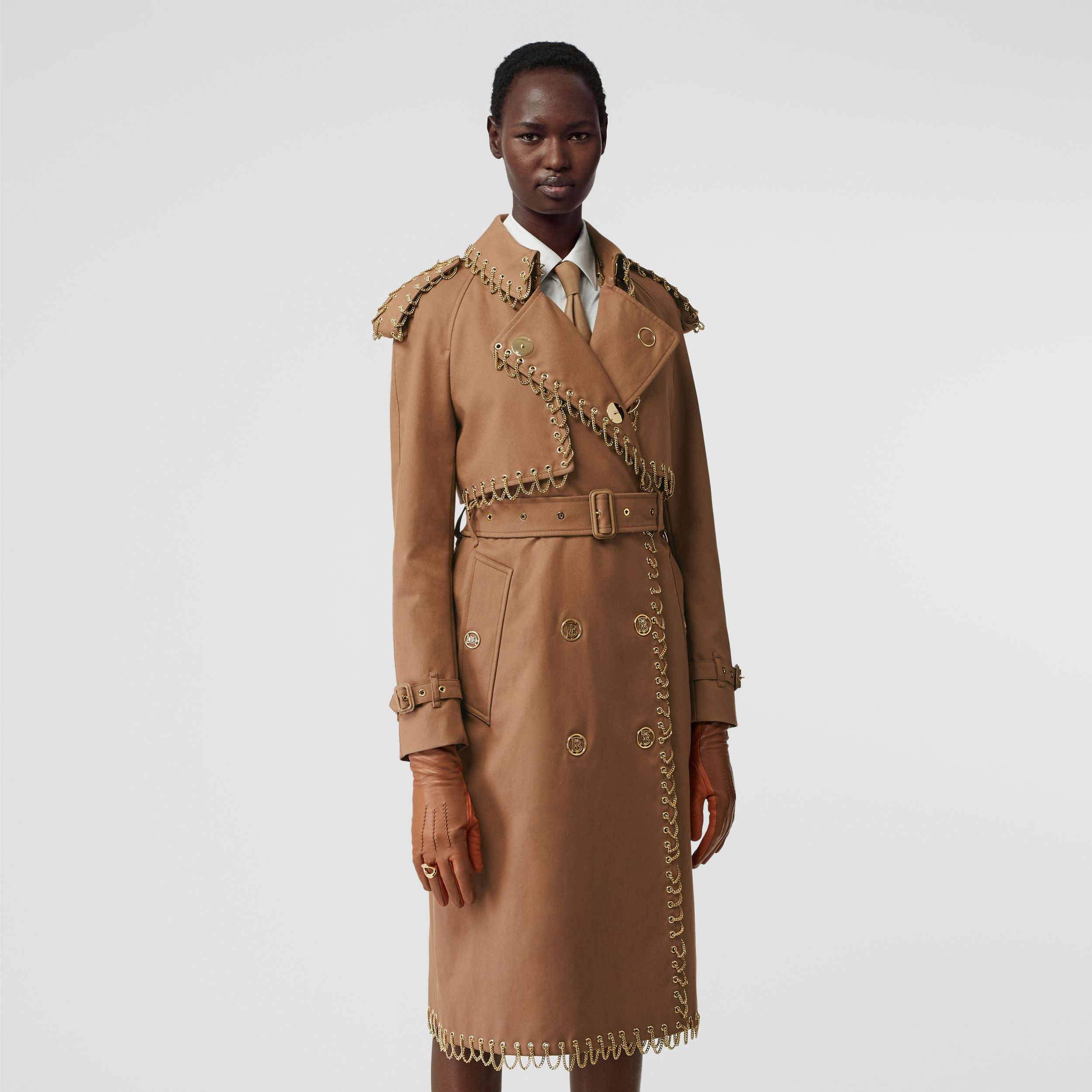 Chain Detail Cotton Gabardine Trench Coat in Warm Walnut - Women | Burberry - 1