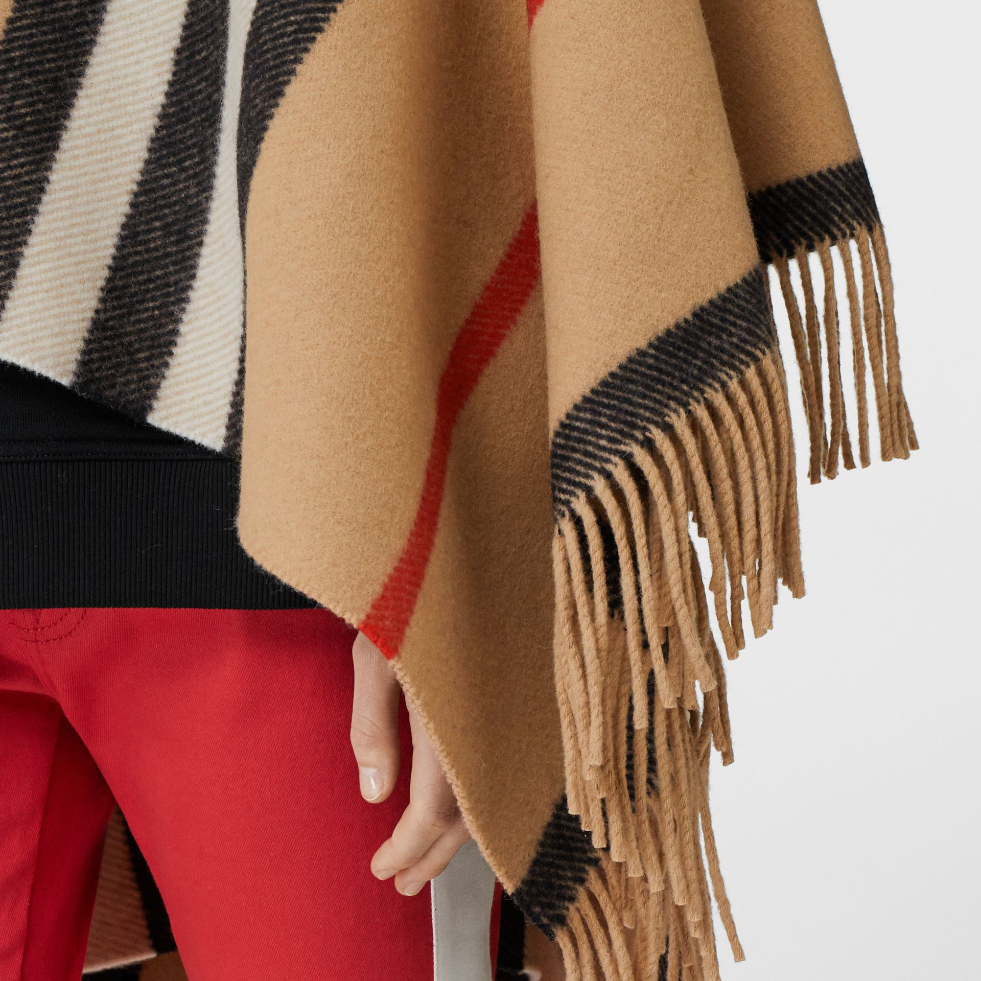 Striped Wool Cape in Camel - Women | Burberry Australia - gallery image 1