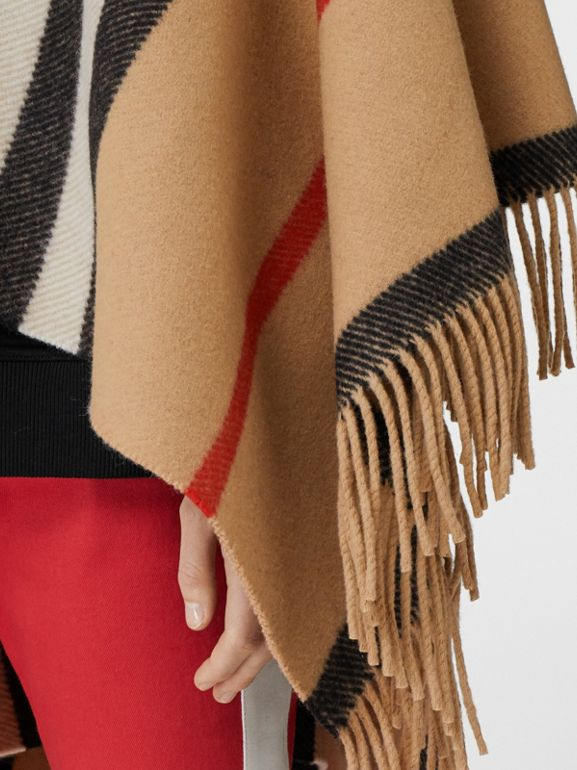 Striped Wool Cape in Camel - Women | Burberry - cell image 1