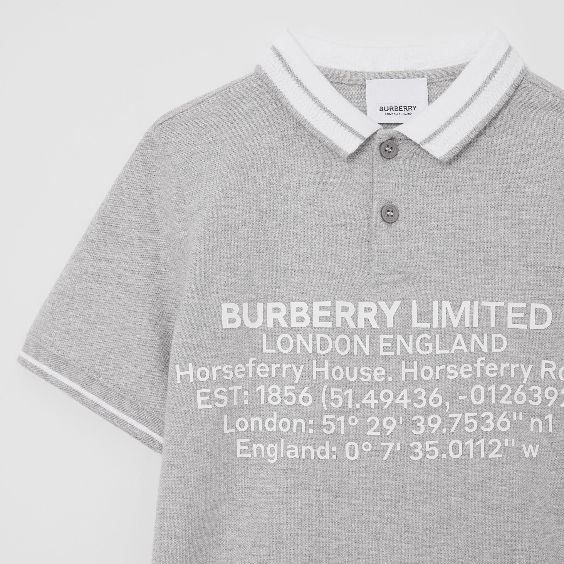 Location Print Cotton Piqué Polo Shirt in Grey Melange | Burberry Hong Kong S.A.R - gallery image 4