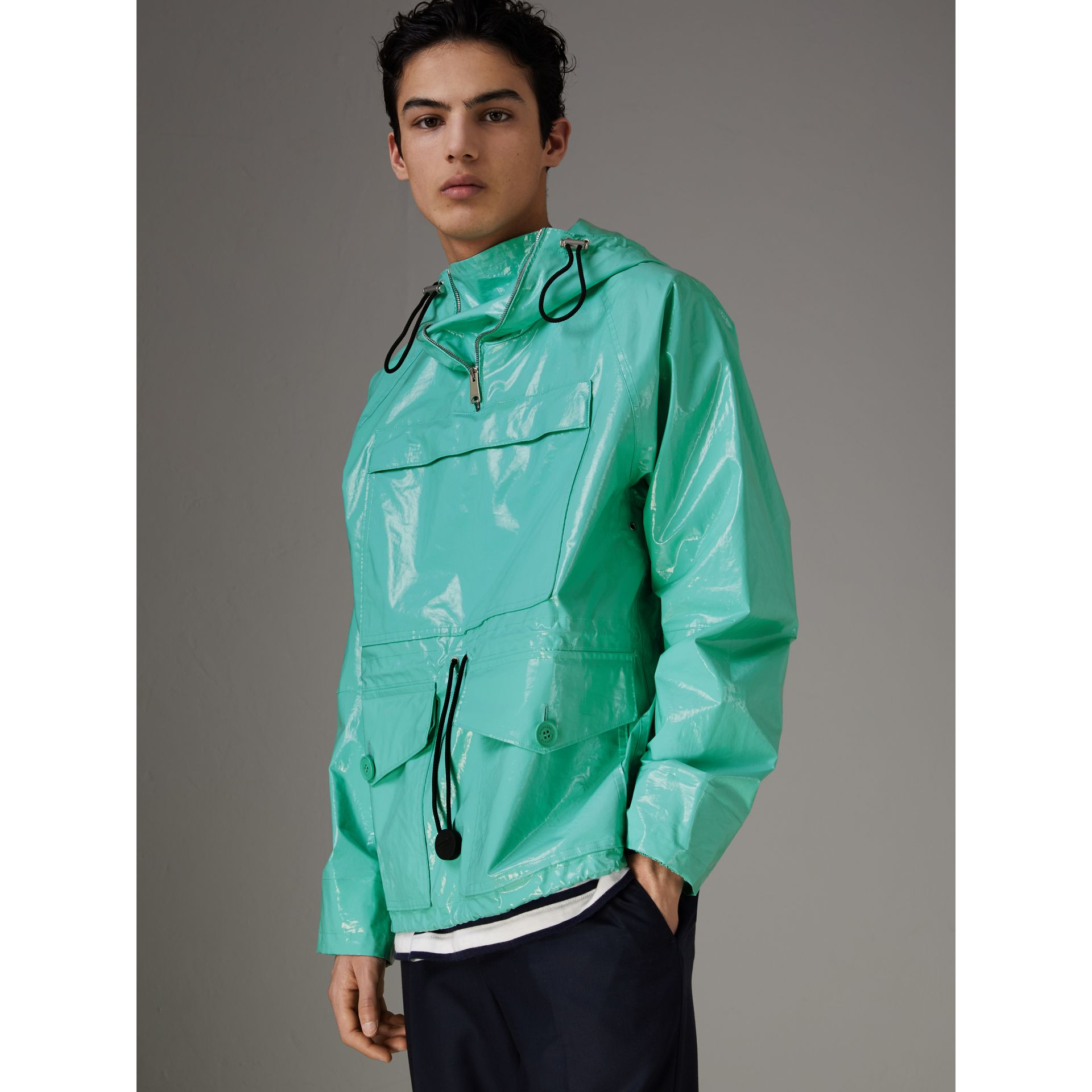 Laminated Cotton Anorak in Aqua Blue - Men | Burberry - gallery image 0
