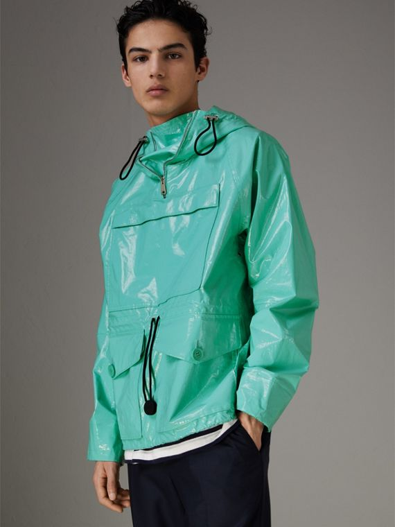 Laminated Cotton Anorak in Aqua Blue