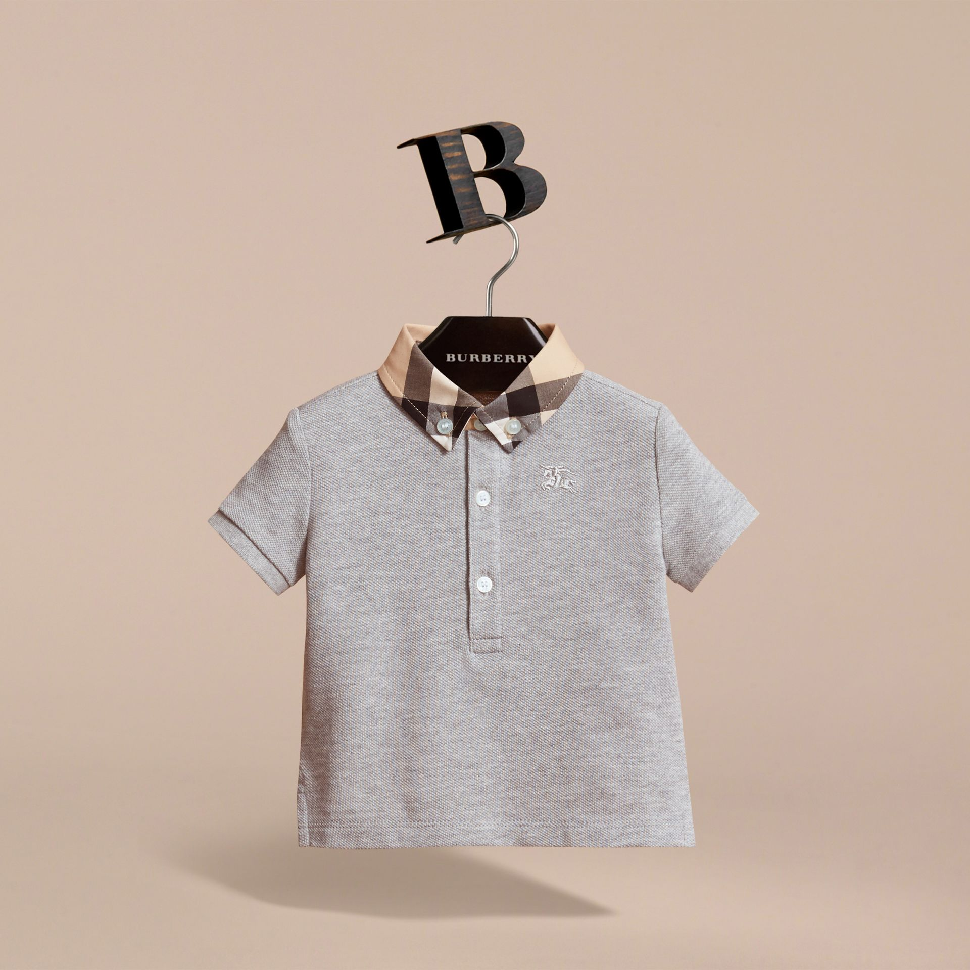 Check Collar Cotton Polo Shirt in Pale Grey Melange - gallery image 3