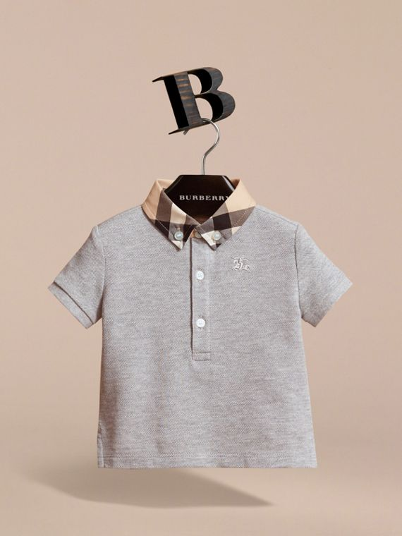 Check Collar Cotton Polo Shirt in Pale Grey Melange - cell image 2