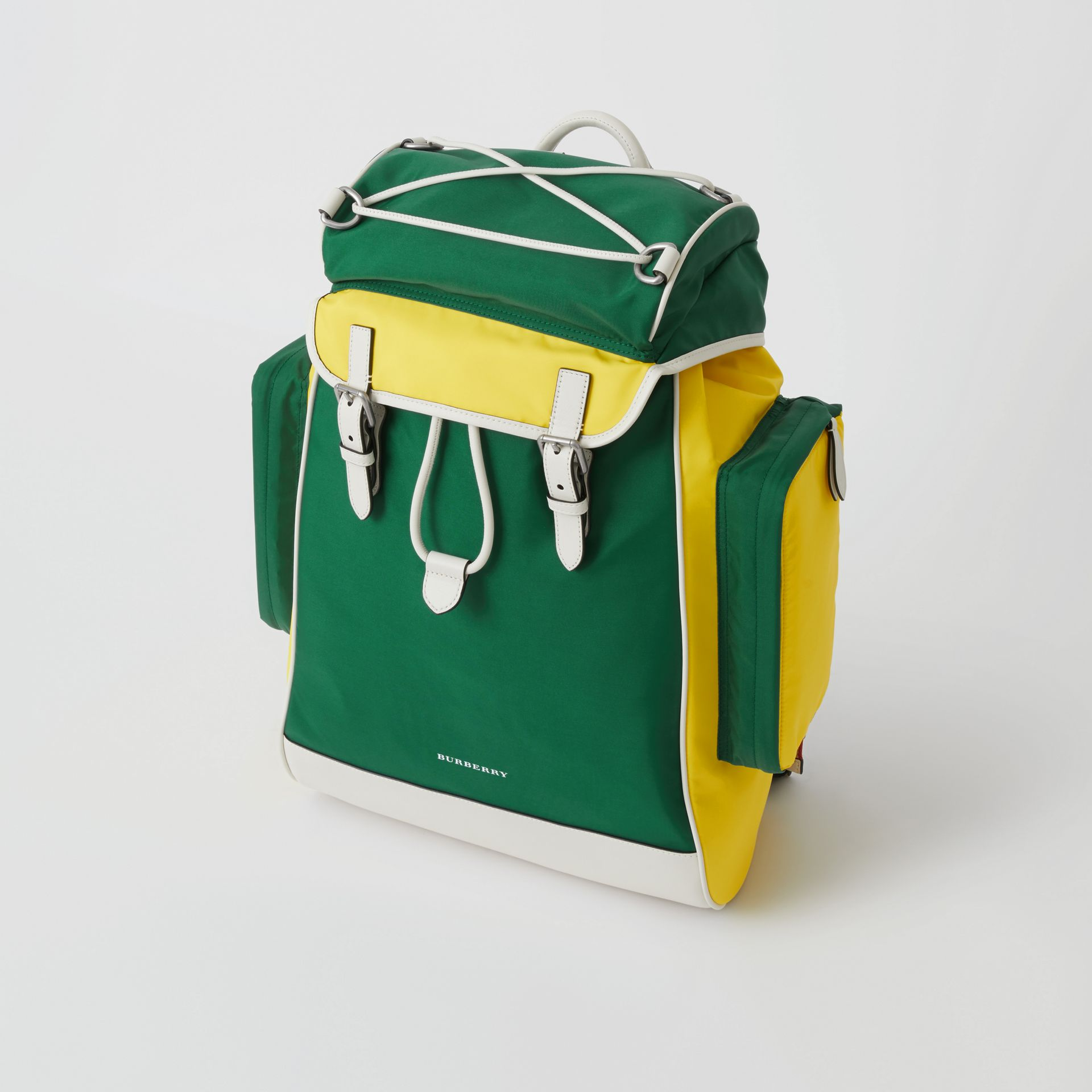 Tri-tone Nylon and Leather Backpack in Pine Green - Men | Burberry - gallery image 4