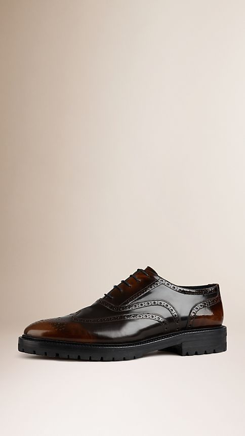 Bitter chocolate Leather Wingtip Brogues With Rubber Sole - Image 1