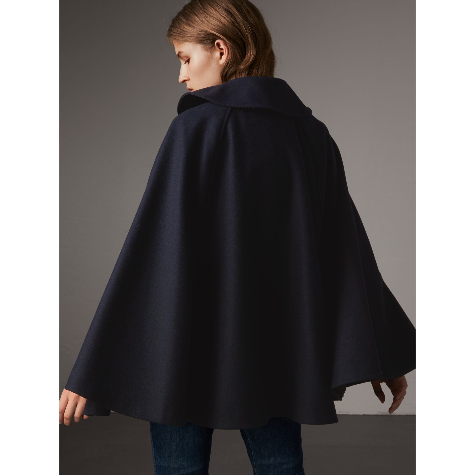 Ruffle Collar Wool Cape in True Navy - Women | Burberry Canada - gallery image 2