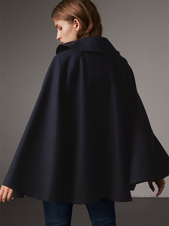 Ruffle Collar Wool Cape in True Navy - Women | Burberry - cell image 2