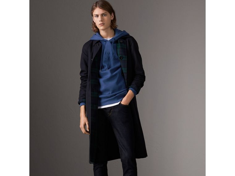 Embroidered Hooded Sweatshirt in Bright Blue - Men | Burberry United Kingdom - cell image 4