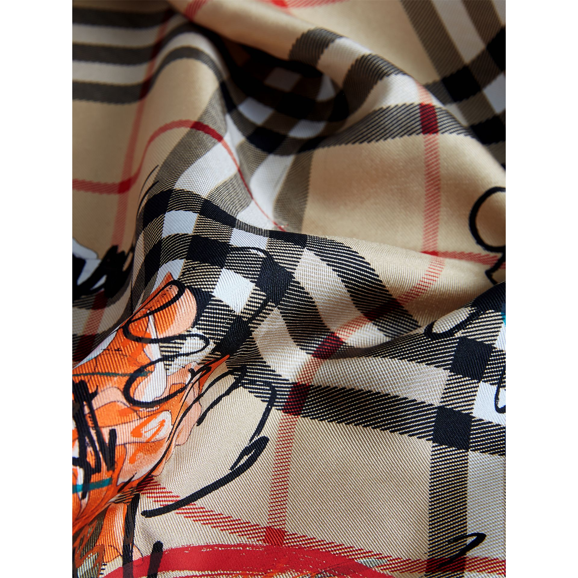 Scribble Floral Vintage Check Silk Square Scarf in Black | Burberry - gallery image 1