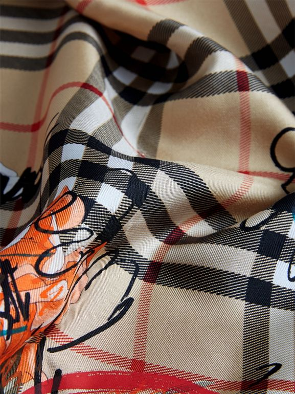 Scribble Floral Vintage Check Silk Square Scarf in Black | Burberry Canada - cell image 1