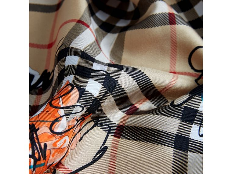 Scribble Floral Vintage Check Silk Square Scarf in Black | Burberry - cell image 1
