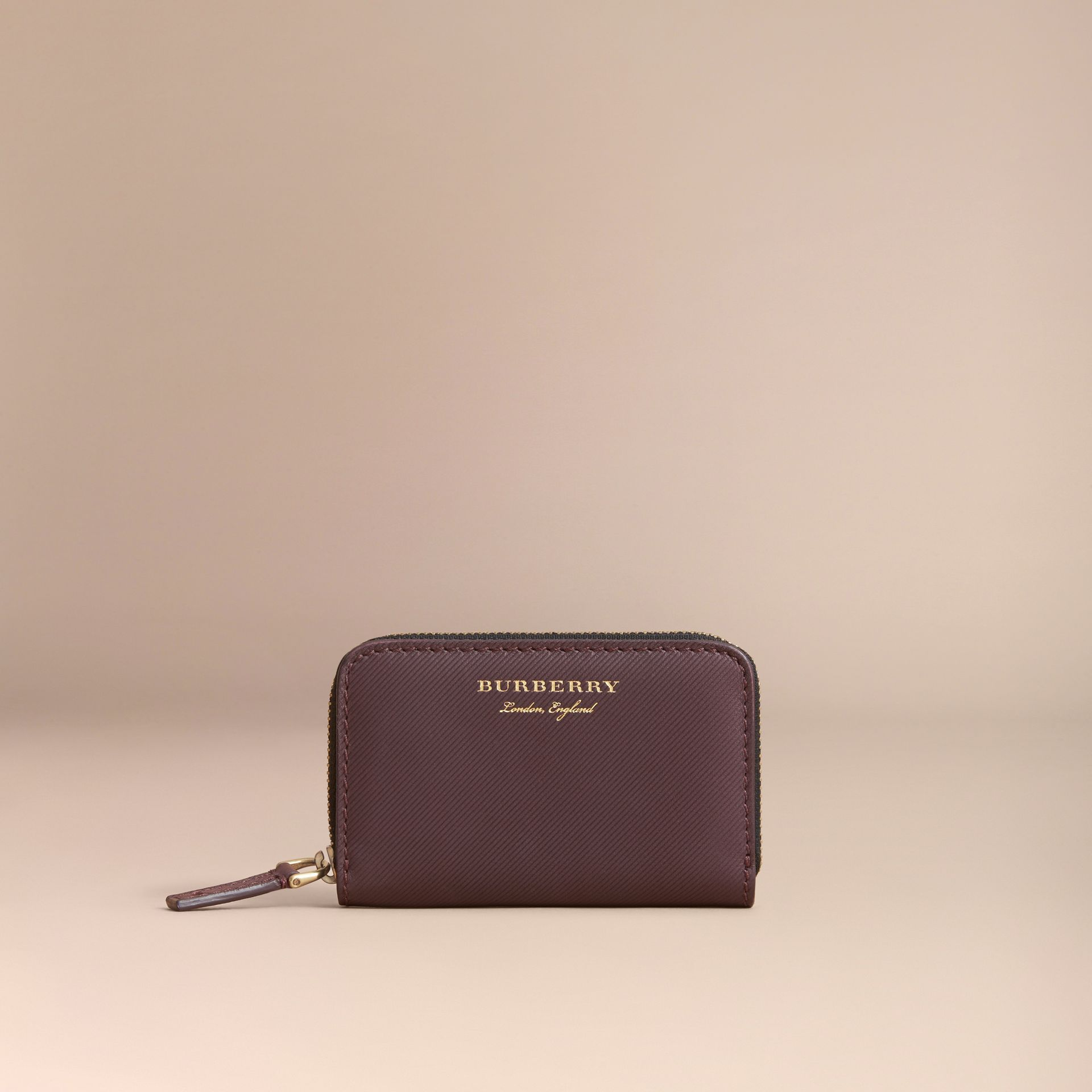 Trench Leather Ziparound Coin Case Wine - gallery image 5