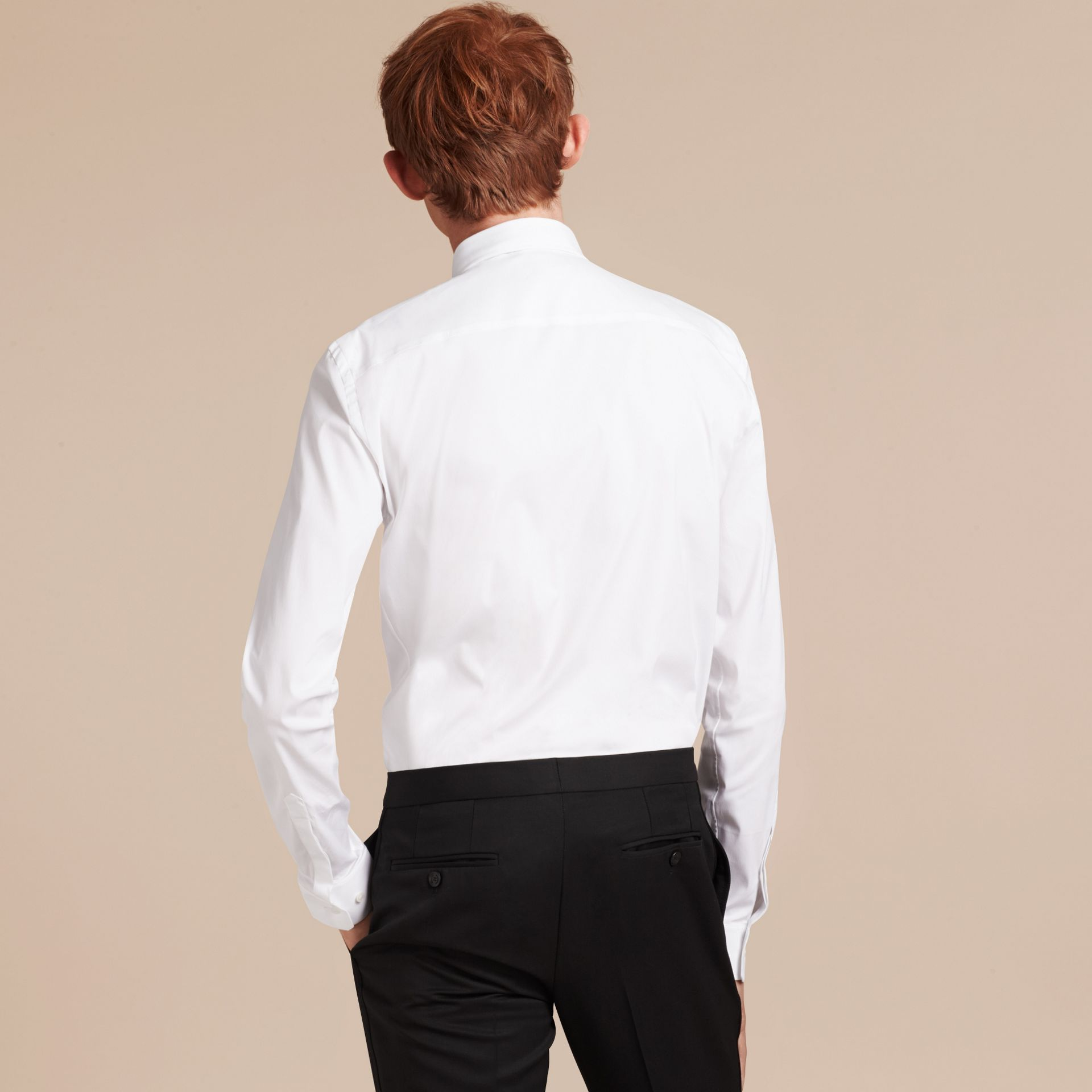 Slim Fit Stretch Cotton Poplin Shirt in White - gallery image 3
