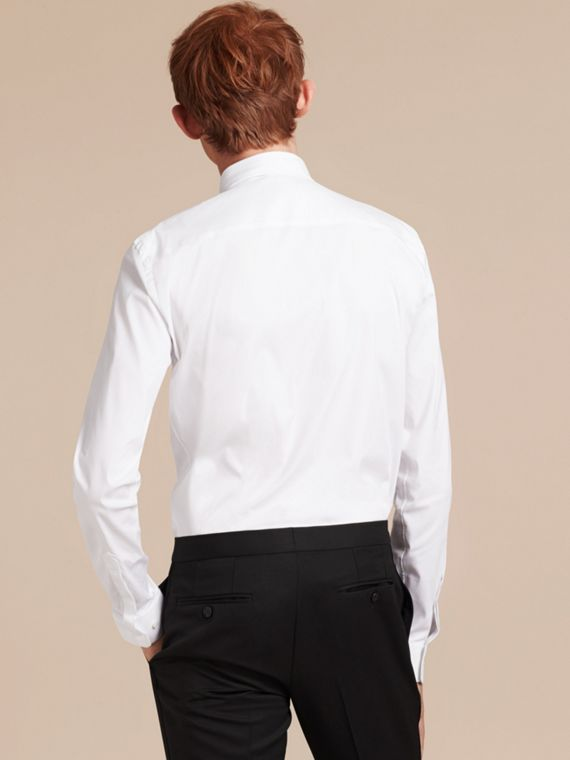 Slim Fit Stretch Cotton Poplin Shirt in White - cell image 2