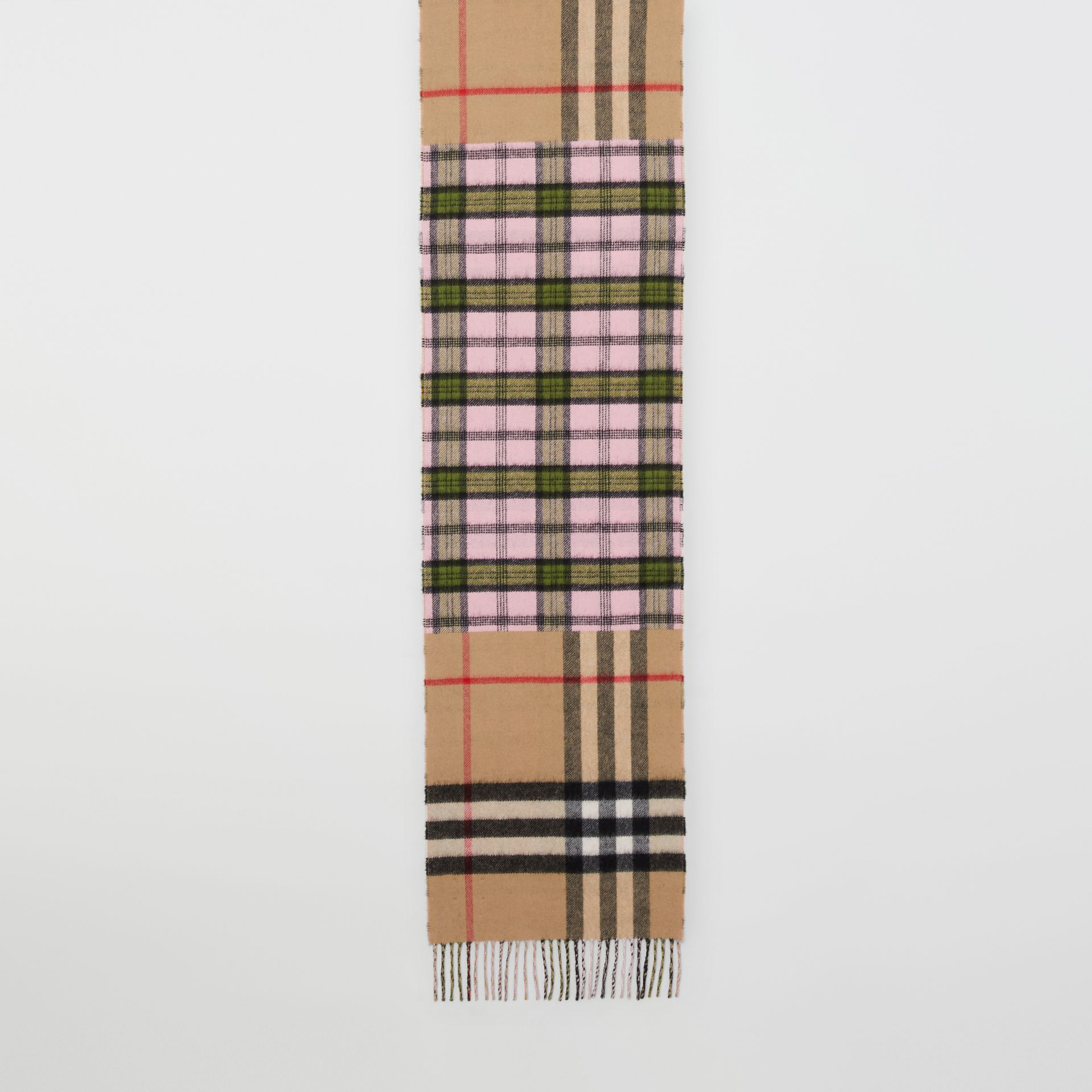Contrast Check Cashmere Merino Wool Jacquard Scarf in Candy Pink | Burberry United States - gallery image 4