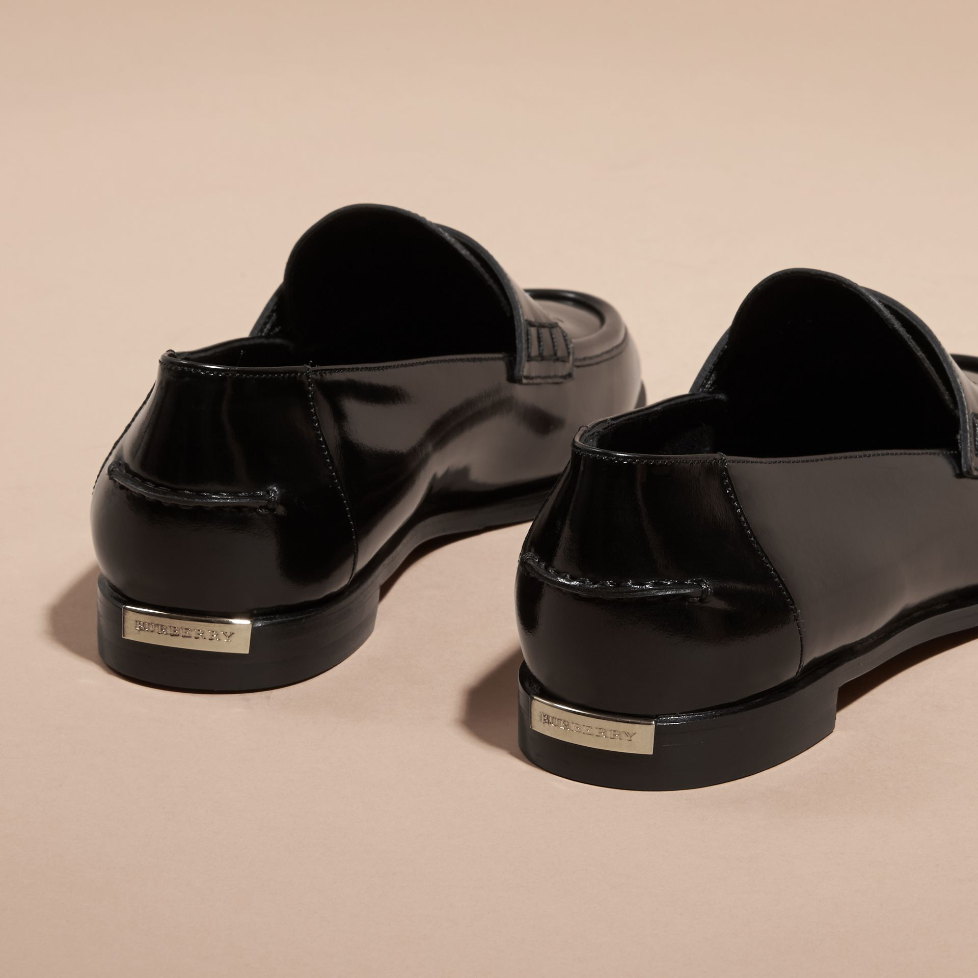 Black Polished Leather Loafers Black - gallery image 4