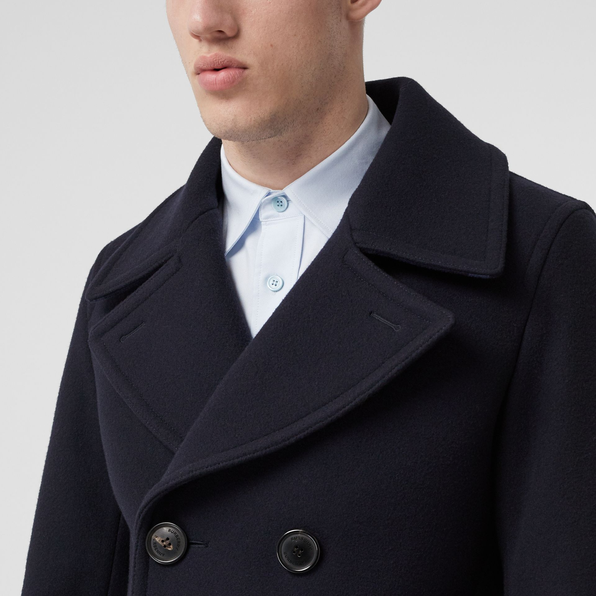 Wool Blend Pea Coat in Navy - Men | Burberry United States - gallery image 4