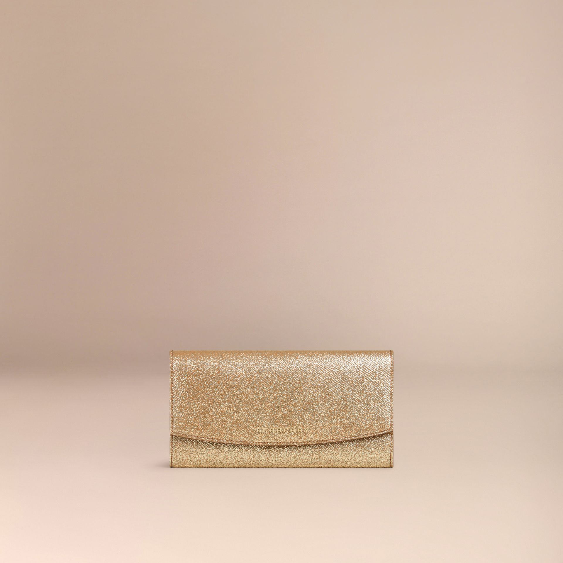 Glitter Patent London Leather Continental Wallet in Camel / Gold - gallery image 3