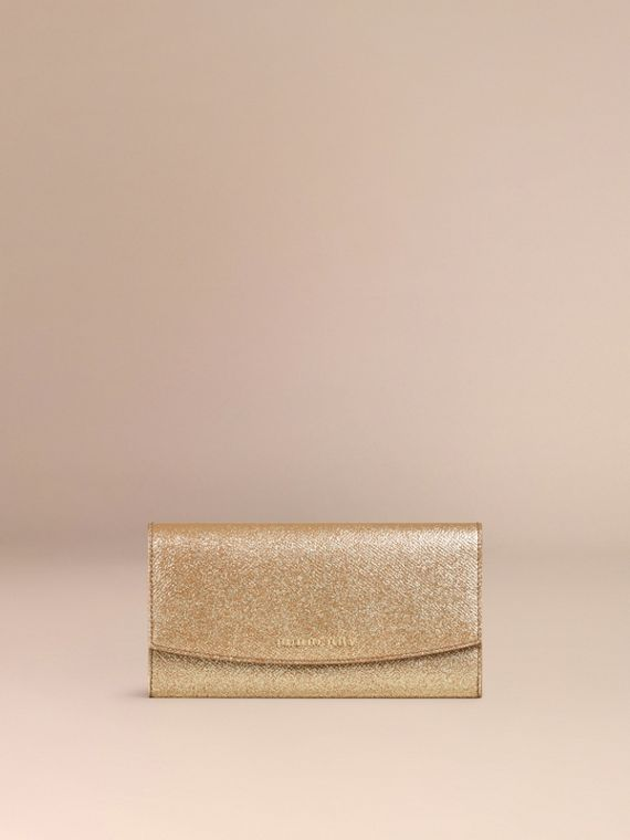 Glitter Patent London Leather Continental Wallet in Camel / Gold - cell image 2