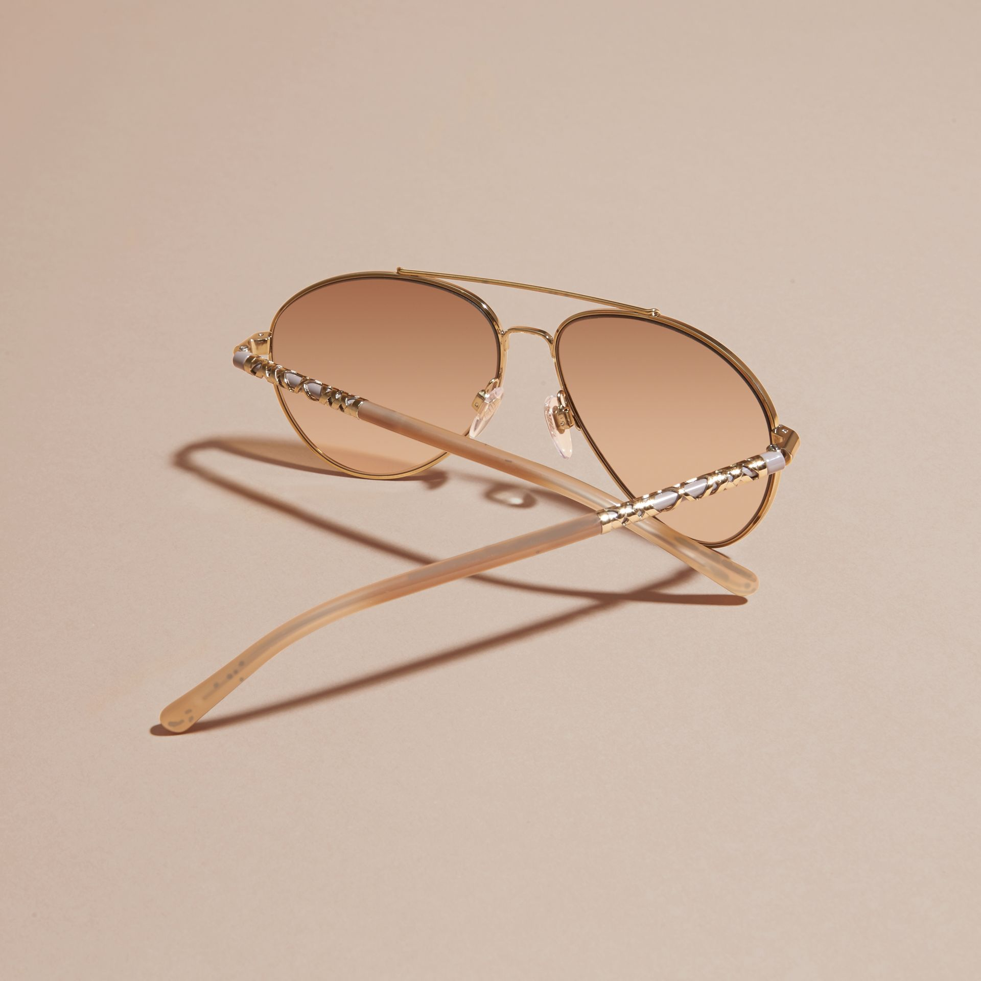 Check Detail Pilot Sunglasses in Pale Gold - Women | Burberry - gallery image 3