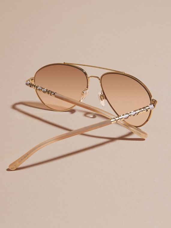 Check Detail Pilot Sunglasses in Pale Gold - Women | Burberry - cell image 3
