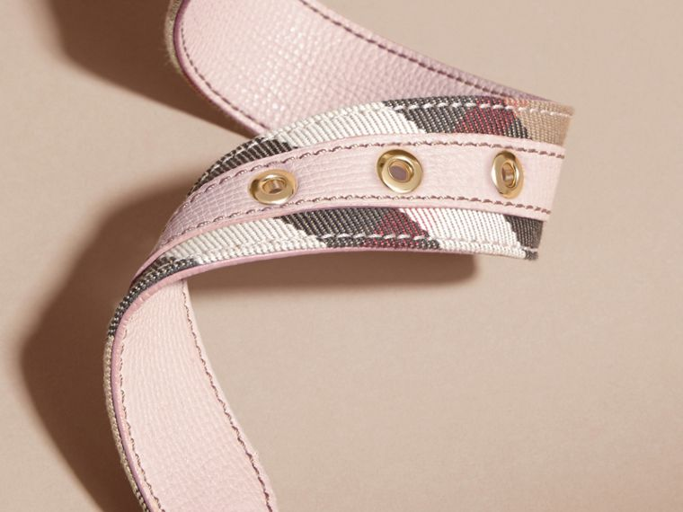 House Check and Grainy Leather Belt in Camel/pale Orchid - Women | Burberry Hong Kong - cell image 4