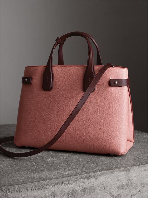 Sac The Banner moyen en cuir bicolore (Rose Cendré/bordeaux Intense) - Femme | Burberry - cell image 2