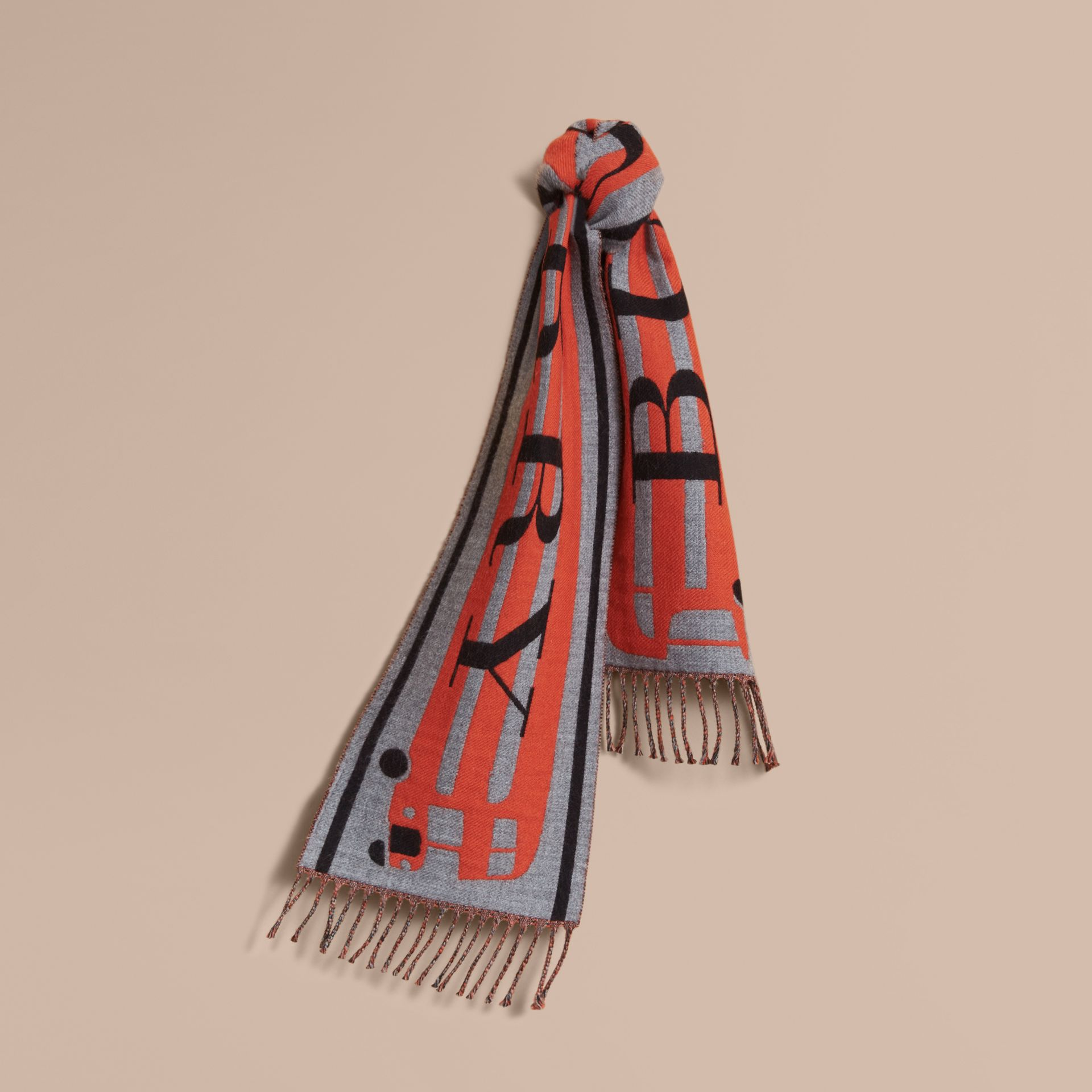 Burberry Lettering Bus Motif Wool Mini Scarf in Mid Grey Melange | Burberry - gallery image 1