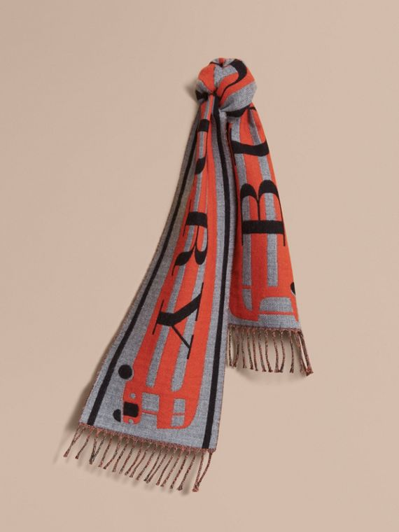 Burberry Lettering Bus Motif Wool Mini Scarf in Mid Grey Melange