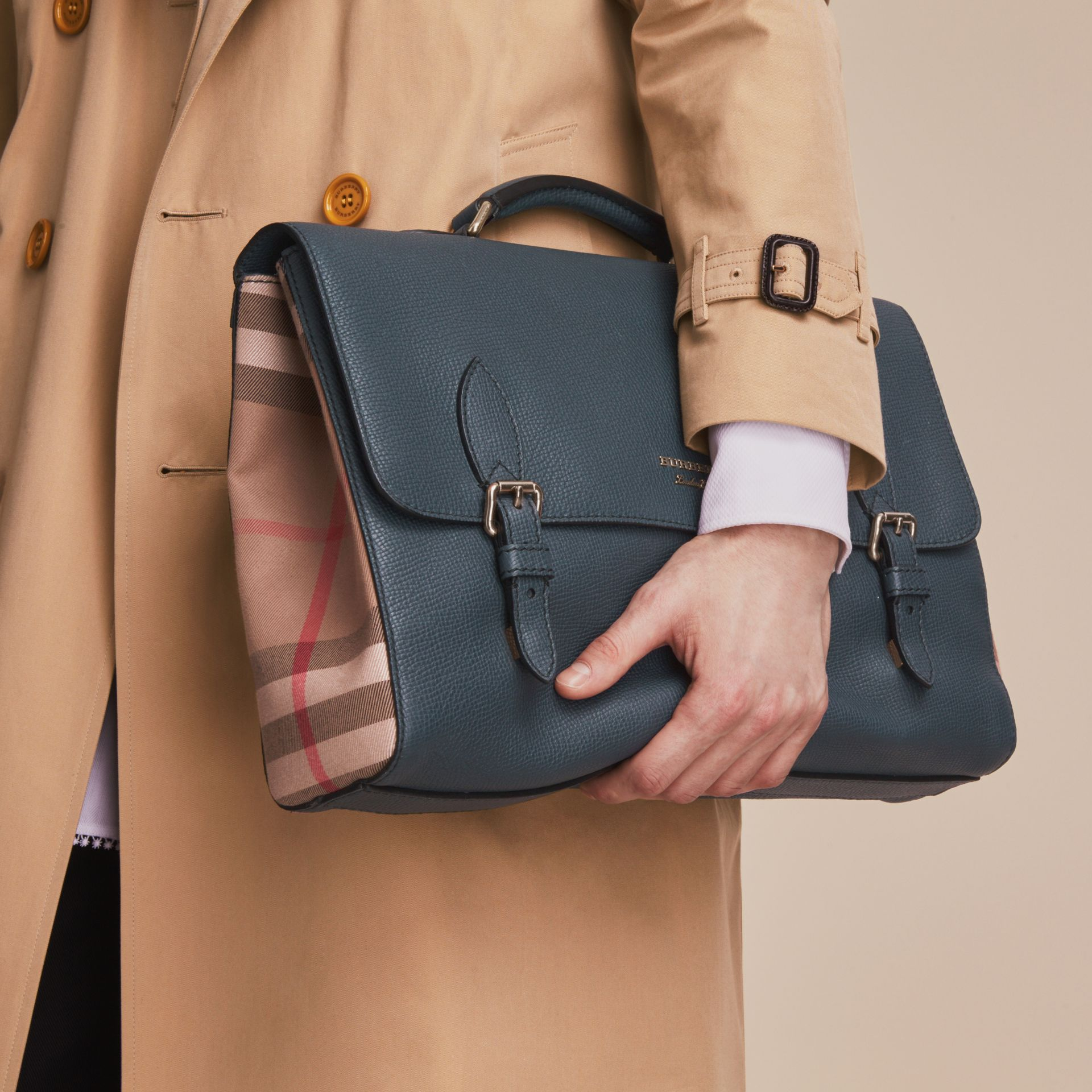 Leather and House Check Satchel in Storm Blue - Men | Burberry - gallery image 4