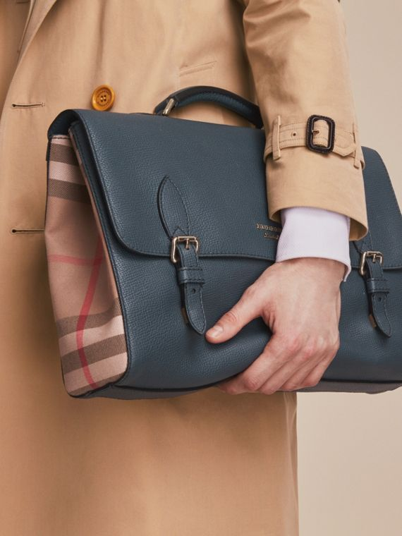 Leather and House Check Satchel in Storm Blue - Men | Burberry - cell image 3