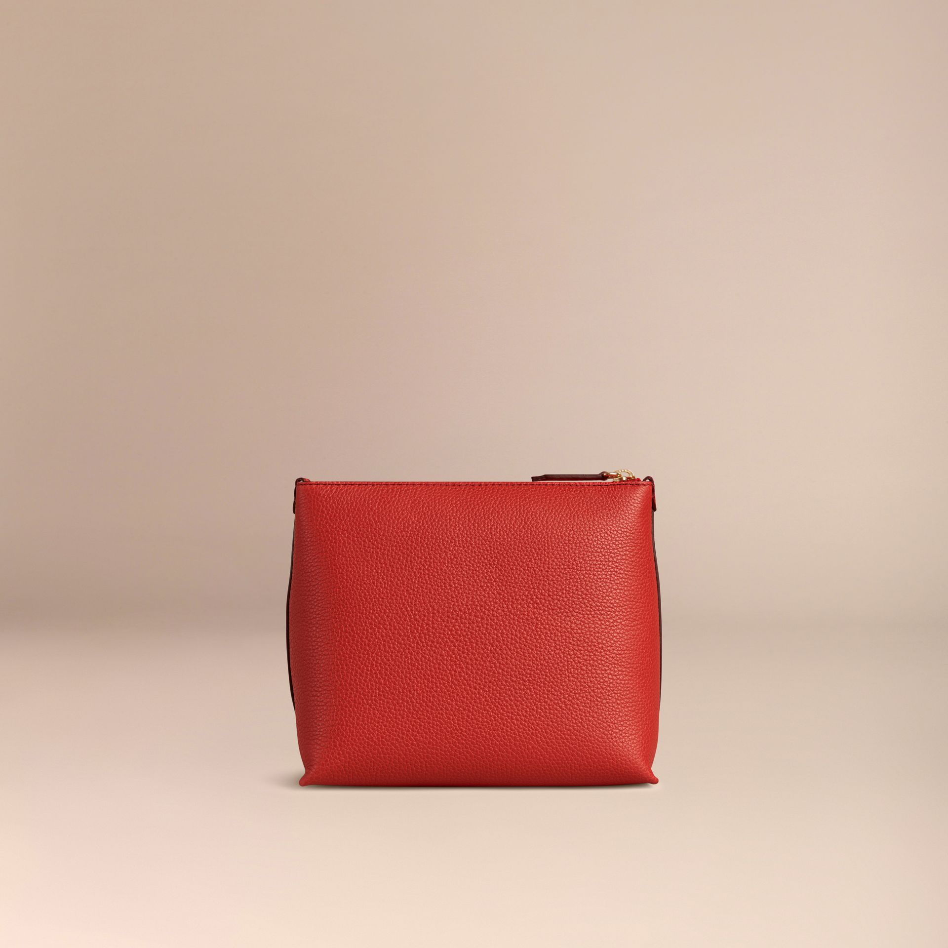 Orange red Grainy Leather Zipped Pouch Orange Red - gallery image 4