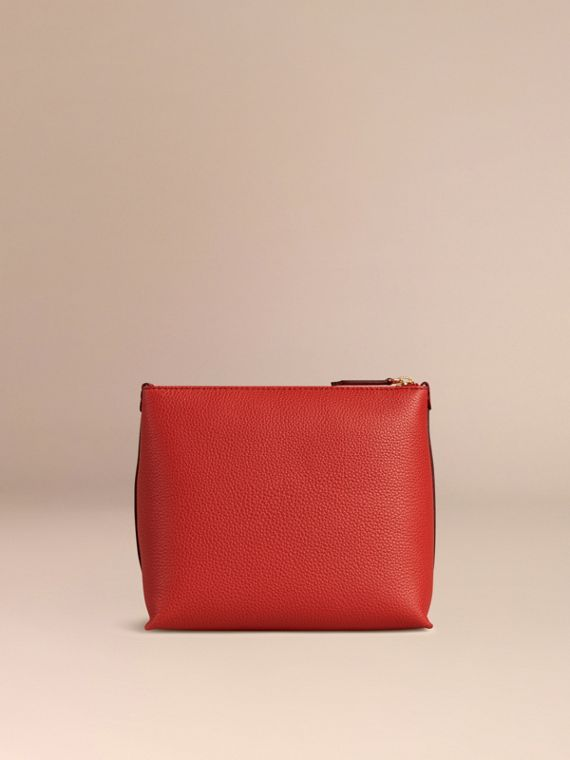 Orange red Grainy Leather Zipped Pouch Orange Red - cell image 3
