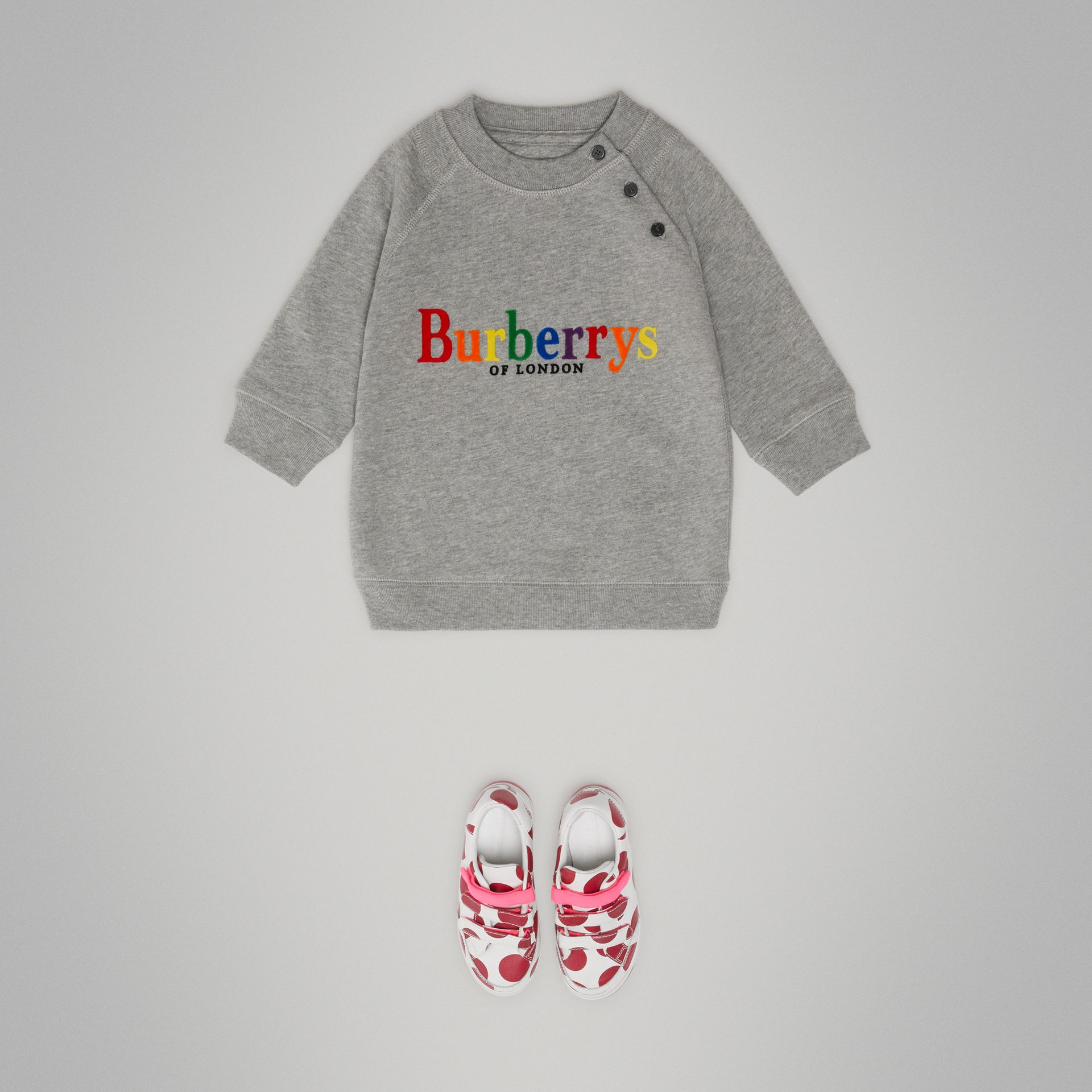 Archive Logo Cotton Dress in Grey Melange - Children | Burberry Canada - gallery image 2