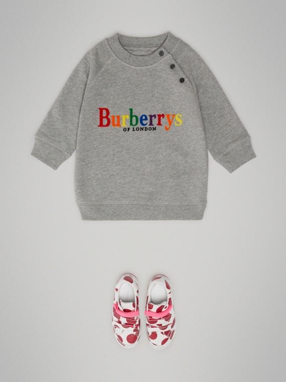 Baumwollkleid mit Vintage-Logo (Grau Meliert)