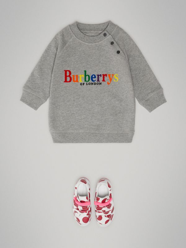 Archive Logo Cotton Dress in Grey Melange - Children | Burberry - cell image 2