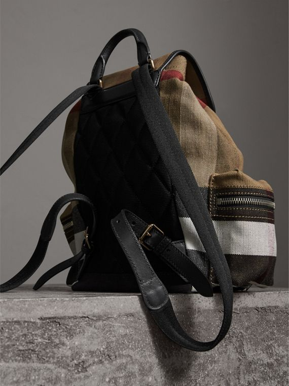 The Medium Rucksack in Canvas Check and Leather in Black - Women | Burberry - cell image 3