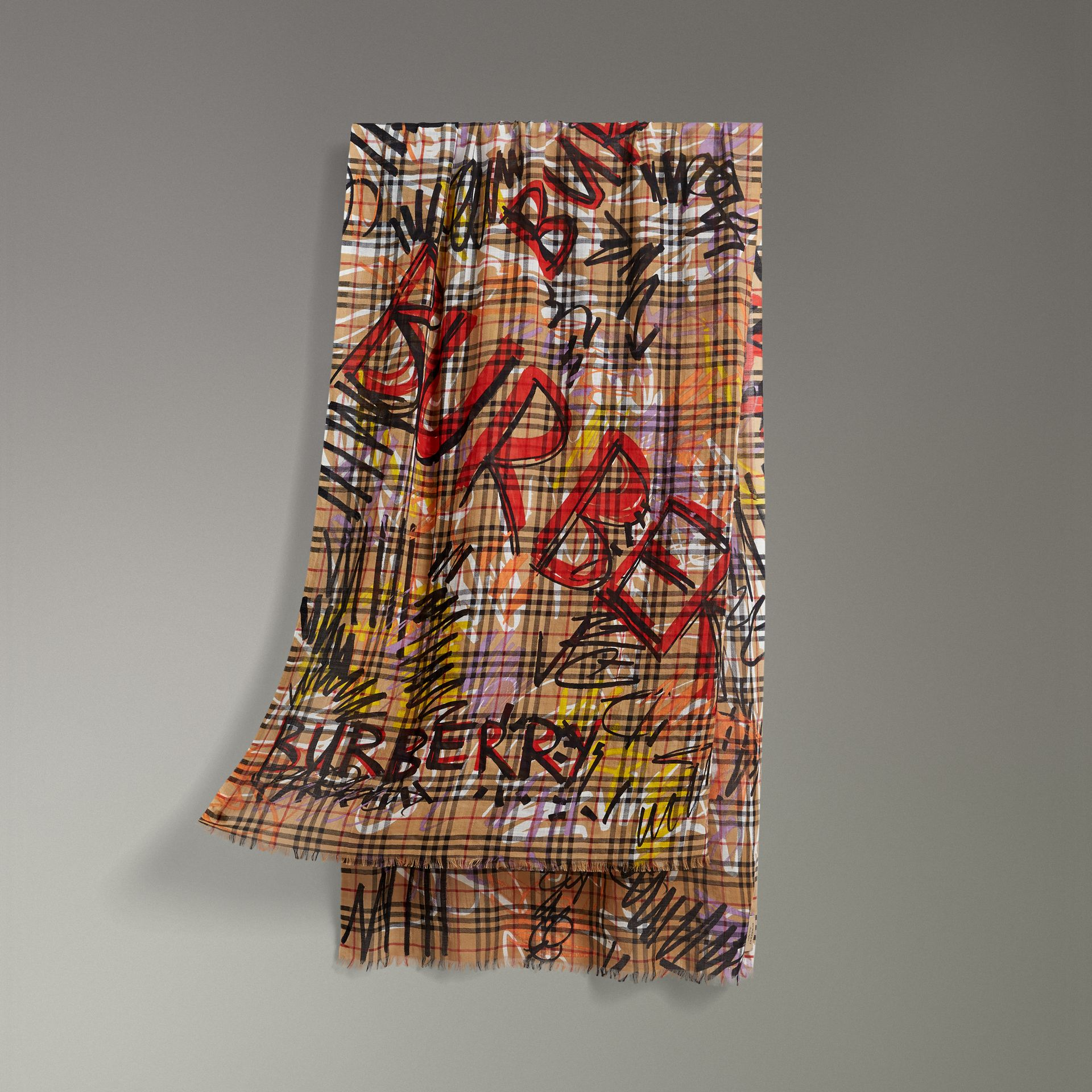 Graffiti Vintage Check Wool Silk Scarf in Antique Yellow | Burberry Australia - gallery image 0