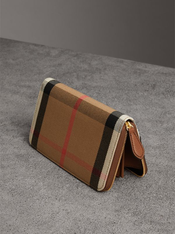 House Check and Leather Ziparound Wallet in Brown Ochre - Women | Burberry Hong Kong - cell image 2