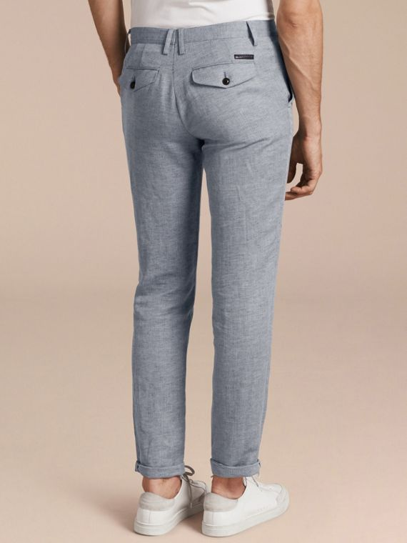 Pale blue Linen Cotton Chinos - cell image 2