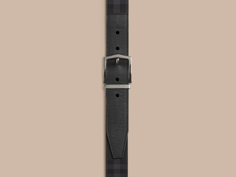 Reversible Horseferry Check and Leather Belt in Charcoal/black - cell image 1