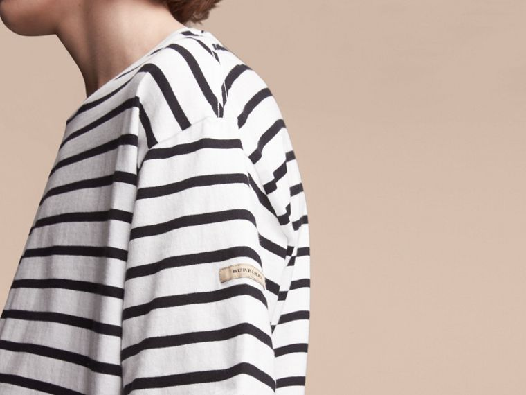Striped Cotton Oversize T-shirt in White/black - Men | Burberry - cell image 4