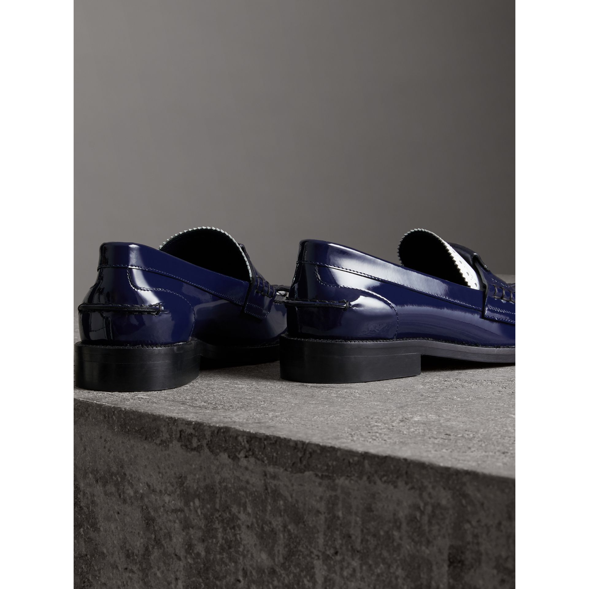 Tri-tone Kiltie Fringe Leather Loafers in Navy - Women | Burberry United Kingdom - gallery image 3