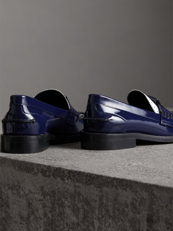 Tri-tone Kiltie Fringe Leather Loafers in Navy - Women | Burberry - cell image 3
