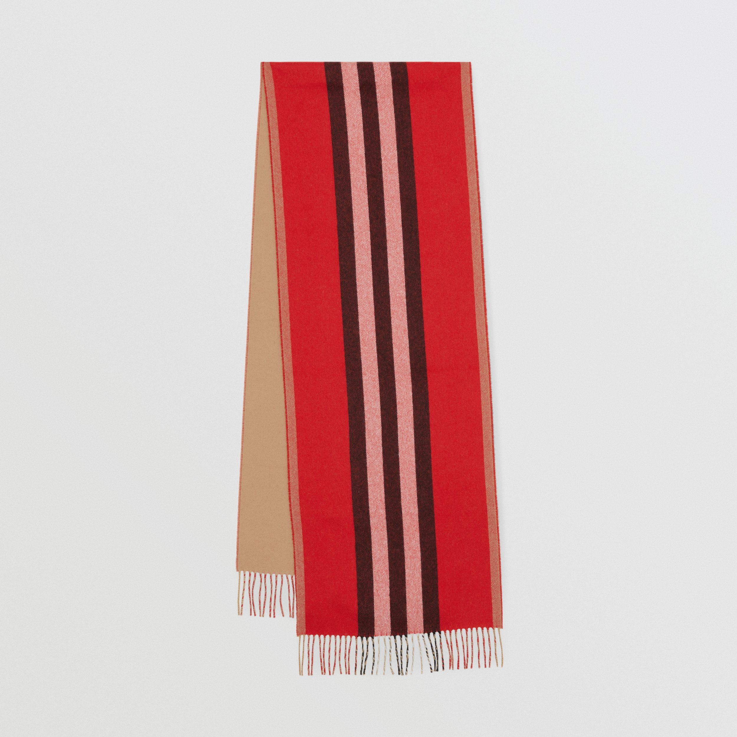 Reversible Icon Stripe Cashmere Scarf in Bright Red | Burberry United Kingdom - 1