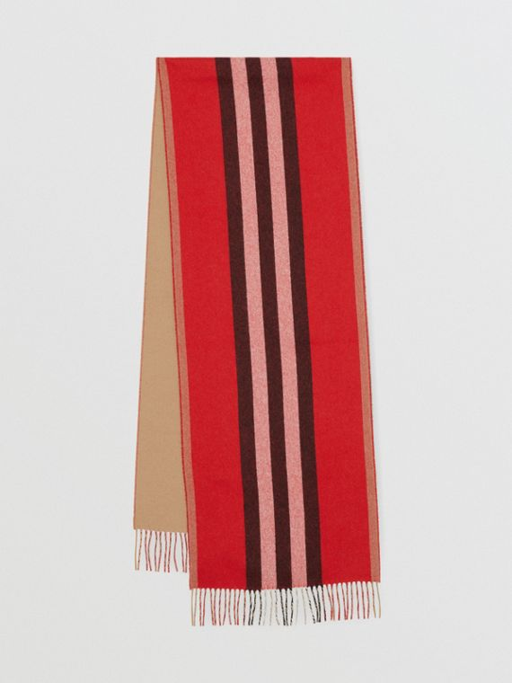 Reversible Icon Stripe Cashmere Scarf in Bright Red